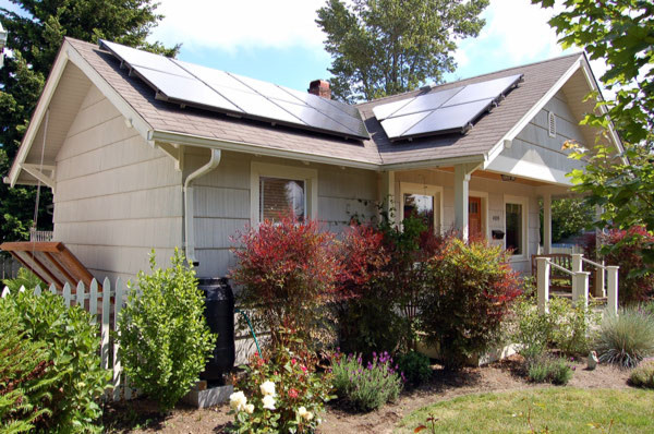 Photo of a home with solar photovoltaic panels